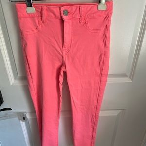 American Eagle high rise hot pink jeggings sz 4